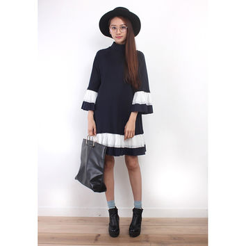 Cotton Pleated Trims Oversized Sweat Dress