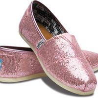 TOMS Shoes Glitter Black Classic Slip-On Shoes Youth Kids,