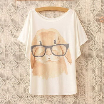 Women's Summer Fashion Cute Rabbit Print  White Batwing Short Sleeves T-shirt = 1946292484