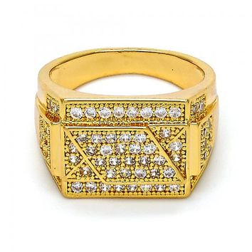 Gold Layered Mens Ring, with Micro Pave, Gold Tone