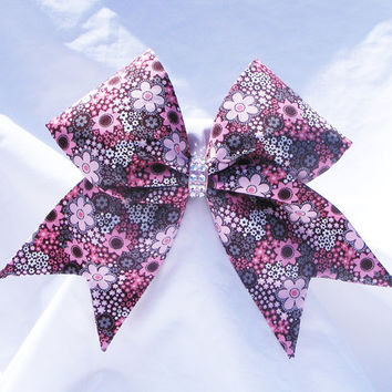 Cheer bow- All fabric sewn Pink flowers,Cheerleading bow-Cheerleader bow- dance bow- softball bow- cheerbow