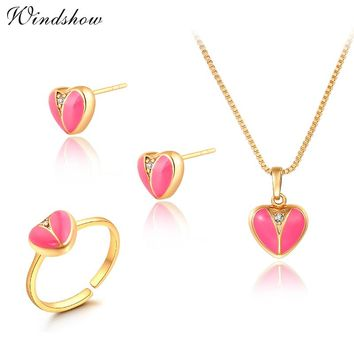Gold Color Pink Peach Love Heart CZ Zircon Stud Earrings Ring Pendant Necklace Small Jewelry Sets For Children Girls Kid Baby