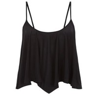 New Look Mobile | Black Hanky Hem Crop Cami