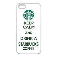 Starbucks Coffee Logo KEEP CALM AND DRINK A STARBUCKS COFFEE Lifestyle Unique Apple Iphone 5 5S Durable Hard Plastic Case Cover CustomDIY