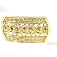 Made in France Gold Tone Hair Barrette Large Floral Flower Ivy Design Vintage Hair Adornments Bobby Pins Clips Accessories Bridal Gift Ideas