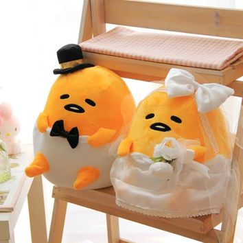 22*29CM Gudetama Lazy Egg Plush Doll Romantic Wedding Dress Stuffed Toy for Lover Valentine's Day Gifts Bride / Bridegroom