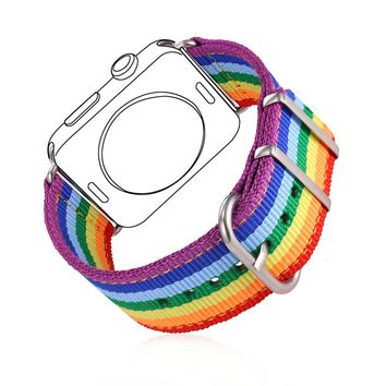 High Quality Fabric Watch Strap Watchband For Applewatch Series 1/2 38MM/42MM Men/Women LGBT Rainbow Colorful Watch Band APB2295