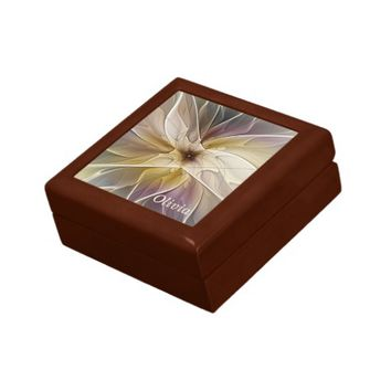 Floral Fantasy Pattern Abstract Fractal Art Name Keepsake Box