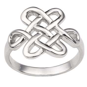 Solid 925 Silver Ring Women Jewelry Chinese Knot Heart Joint Pure Band Luck & Love Symbol Gift R179