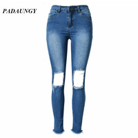 PADAUNGY High Waist Jeans Women Ripped Torn Jeggings Skinny Slim Fit Jeans Plus Size Denim Pants Pencil Trousers Pantalon Jean