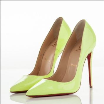 CHRISTIAN LOUBOUTIN 'SO KATE' NEON YELLOW PATENT LEATHER 120 PUMPS EU 38 US 8