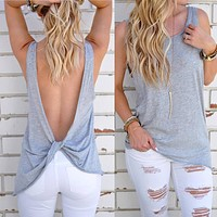 Backless Loose Sleeveless Tunic Shirt Top Blouse