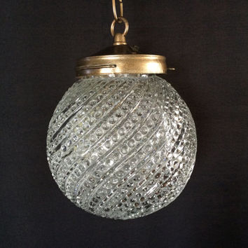 Vintage Antique Clear Crystal Hobnail Swirl Globe Hanging Pendant Light 1940s
