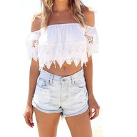 Sandistore Sexy Fashion Women Boho Lace White Blouse Off Shoulder Crop Shirt Tops (S)