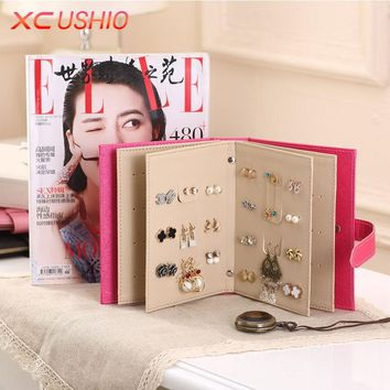 Fashion Women Stud Earrings Collection Book PU Leather Earring Storage Box Creative Jewelry Display Holder Jewellery Container