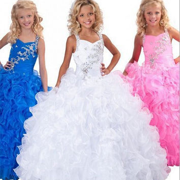 First communion Blue White Pink Flower Girl Dress 2017 Cute Ball Gown Halter Summer Girls Pageant Dress for Weddings Party Gown
