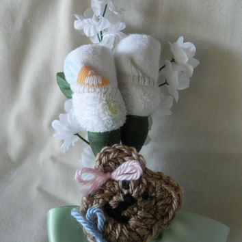 Neutral Baby Shower Corsage with Teddy Bear Clip by JeannaSadorra