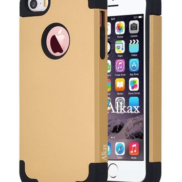 iPhone SE Case , iPhone 5S Case , iPhone 5 Case ,Alkax Dual Layer Armor Heavy Duty Rugged Slim Fit Shockproof Protection Series Protective Cover Bumper for Apple iPhone SE 5S + 1 Stylus Pen (Gold)
