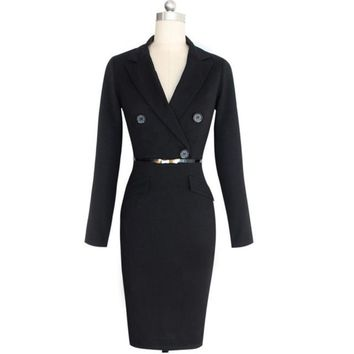 Vintage Working Dress Elegant Lady Black Long Sleeve Pencil Dress