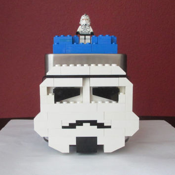 Lego Storm Trooper Candy/Keepsake Jar.Star Wars Birthday Gift.LEGO Minifigure.LEGO Bricks.LEGO Star Wars party.Home Decor. Lego Centerpiece