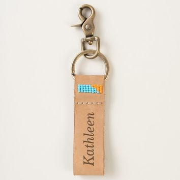 Personalized Name Leather Keychain
