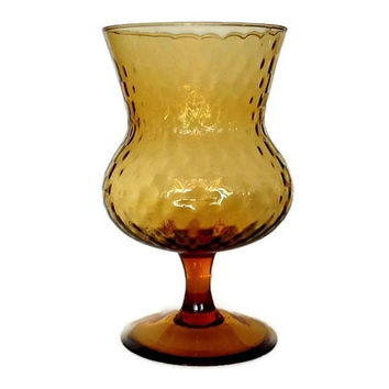 Empoli Glass Vase, Mid Century Amber Pedestal Candy Dish, Optic Glass, Italian Art Glass