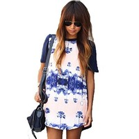 Women's O-neck Floral Short Sleeve Loose Casual Dress