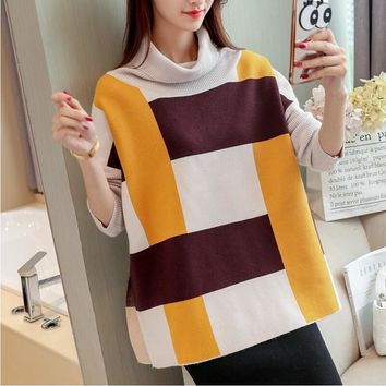 New Korean big baggy Plaid turtleneck sweater code female bat sleeve knit thickened split ends