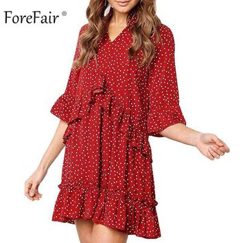 Forefair Women Summer Boho Dress Polka Dots Print Large Sizes Red Yellow Short Sleeve Vintage Beach Chiffon Ruffle Dress 2018