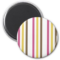 Bold Pink Gold Brown White Stripes Pattern Gifts 2 Inch Round Magnet