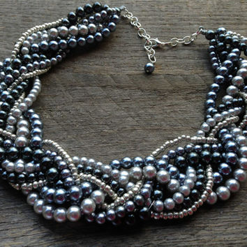 Silver Grey Pearl Necklace Braided Cluster on Silver Chain - Wedding, Bridal, Prom, Birthday Gift