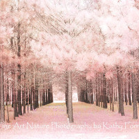 """Pink Nature Photography, Dreamy Baby Pink Nursery Nature, Pink Trees Woodlands, Pink Nature Nursery Decor, Fine Art Photography 8"""" x 12"""""""