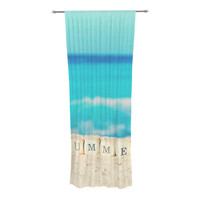 "Monika Strigel ""Summer at the Beach"" Blue Coastal Decorative Sheer Curtain"