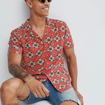 boohooMAN revere shirt in red at asos.com