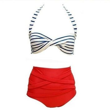 1pcs Summer Sexy Rockabilly Vintage High Waist Bikini Swimsuit Swimwear Red+White S