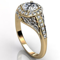 14k two tone yellow and white gold diamond unusual unique floral engagement ring, anniversary ring, wedding ring ER-1056-7