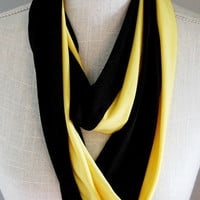 Hufflepuff Inspired Soft Jersey Infinity Scarf, Yellow and Black Stretch Jersey Skinny Infinity Scarf, Hogwarts Scarf