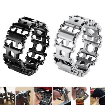 Multifunctional Tool Bracelet Pocket Outdoor Travel Product portable Pry Screwdriver Stainless Steel Bar Beer Bottle Opener