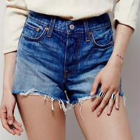 Ripped Fringe Trim Blue Denim Shorts