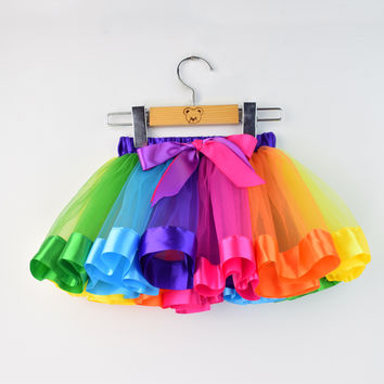 Fashion Kids Girl Tutu Skirt Rainbow Split Ballet Dance Skirt Toddler Bow Chiffon Princess Skirts Colorful Party Clothes 2-6Y