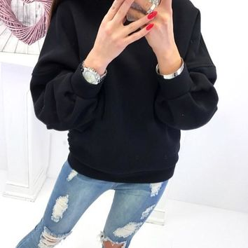 New Black Cut Out Round Neck Long Sleeve Fashion Pullover Sweatshirt