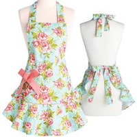 Cottage Kitchen Rose Hostess Apron