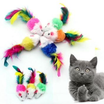Mayitr 10pcs Funny Soft Plush False Mouse Cat Toys Colorful Feather Tail Funny Kitten Playing Toy For Pet Cat Random