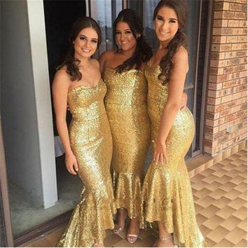 Sexy Mermaid Bridesmaid dresses Gold Sequins Sparkle Fashion High low Wedding party dress 2017 Newest Sweetheart Elegant