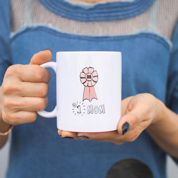 Number 1 Mom Mug Cup Gift For Mother Mother's Day Holiday Gift Idea For Mom
