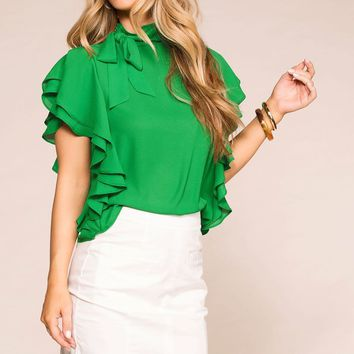 Make A Statement Green Ruffle Blouse