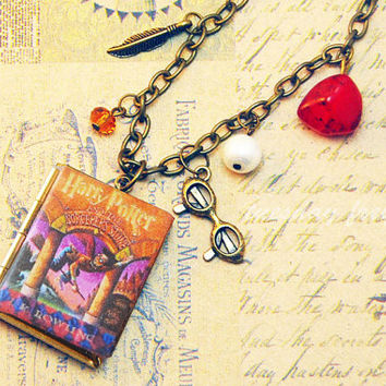 Harry Potter necklace with miniature book locket and matching charms