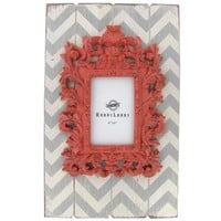 "4"" x 6"" Coral, White & Gray Chevron Photo Frame 