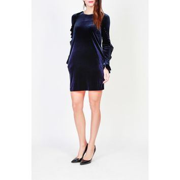 Pinko Blue Round Neck Long Sleeve Dress