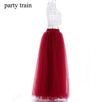 100cm New arrive women vestidos Long Tulle Skirts 2017 Floor Length red wine Tulle Skirts With Satin Sashes Bridesmaid Skirts